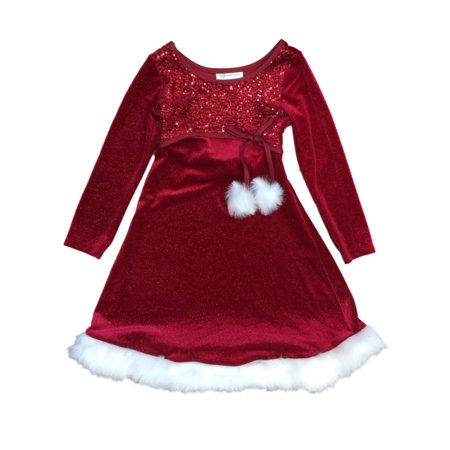 Little Girls Red Sequin & Glitter Velour Christmas Holiday Party Dress 5 ()