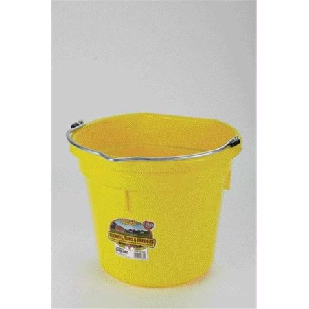 Miller Mfg Co Inc P-Little Giant Plastic Flat Back Bucket- Yellow 20 Quart