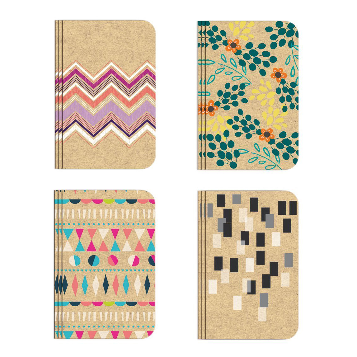 "Pocket Notebook Set (12 NotebooksTotal) 3.25"" x 5.25"" Lined Pages, Stitched Binding, 4 Different Designs Stationery Notepad"