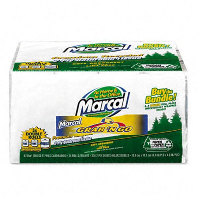 Marcal 6224 Convenience Bundle Bathroom Tissue  336 Sheets/Roll  4 Rolls Pack  6 Pks/Ctn