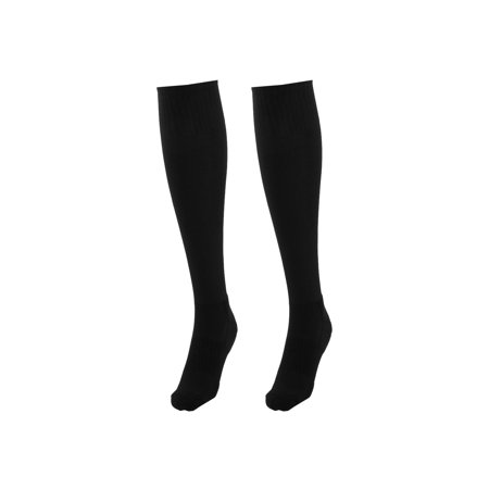 Adult Cotton Blends Knee High Style Rugby Soccer Football Long Socks Black