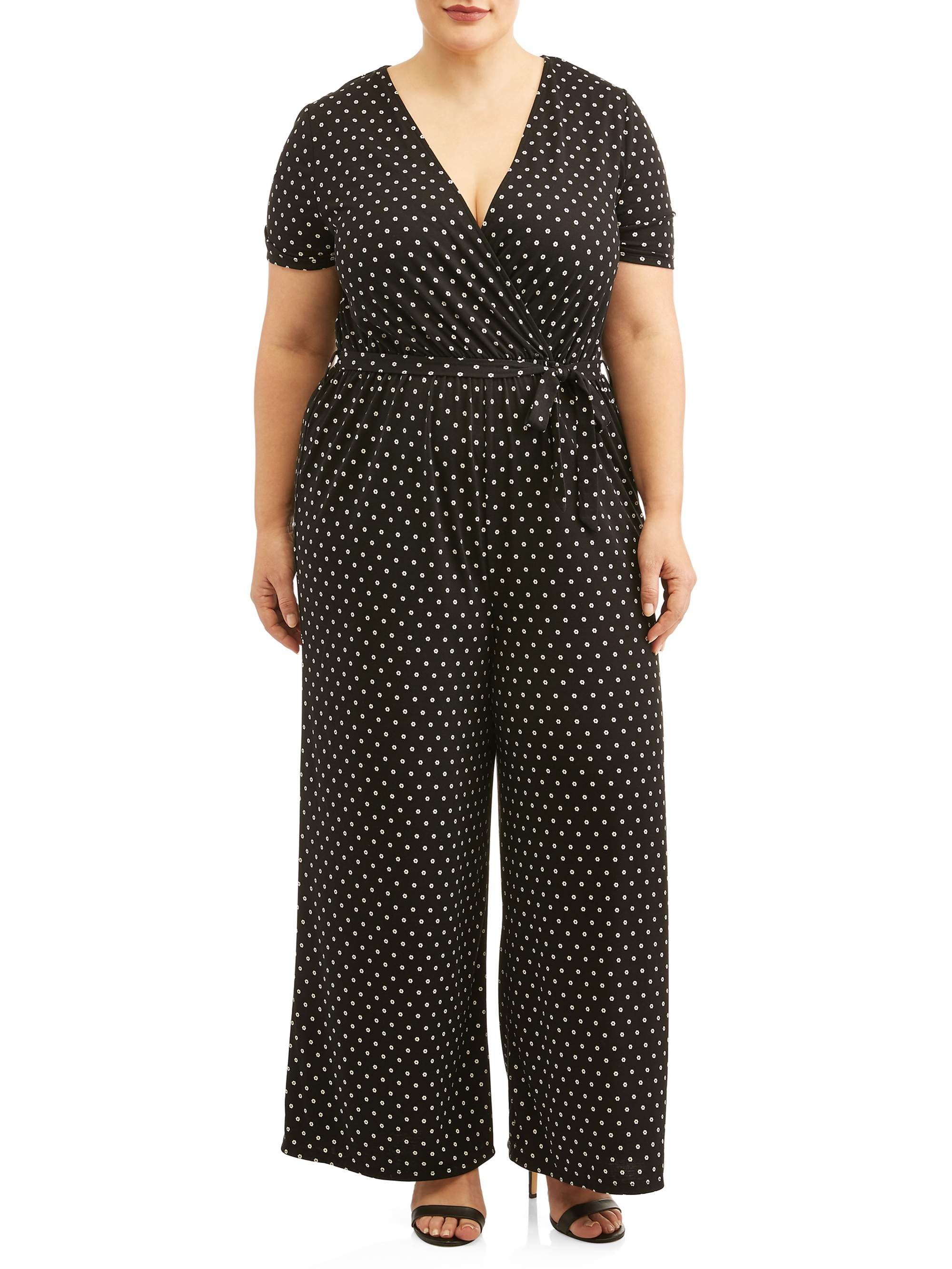 b49a0814a70 Concepts - Women s Plus Size Short Sleeve Knit Surplice Jumpsuit -  Walmart.com