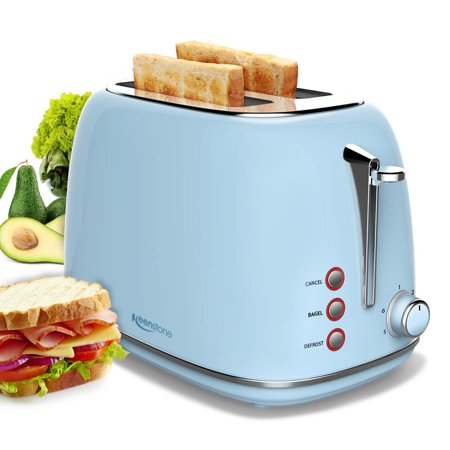 2 Slice Toaster with Bagel, Cancel, Defrost Function and 6 Bread Shade Settings Bread Toaster, Extra Wide Slot and Removable Crumb Tray Stainless Steel (Kitchenaid Artisan 2 Slice Toaster Almond Cream)