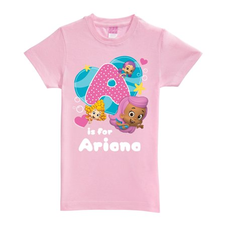 Personalized Bubble Guppies Initial Pink Fitted Tee (Bubble Guppies Dress)