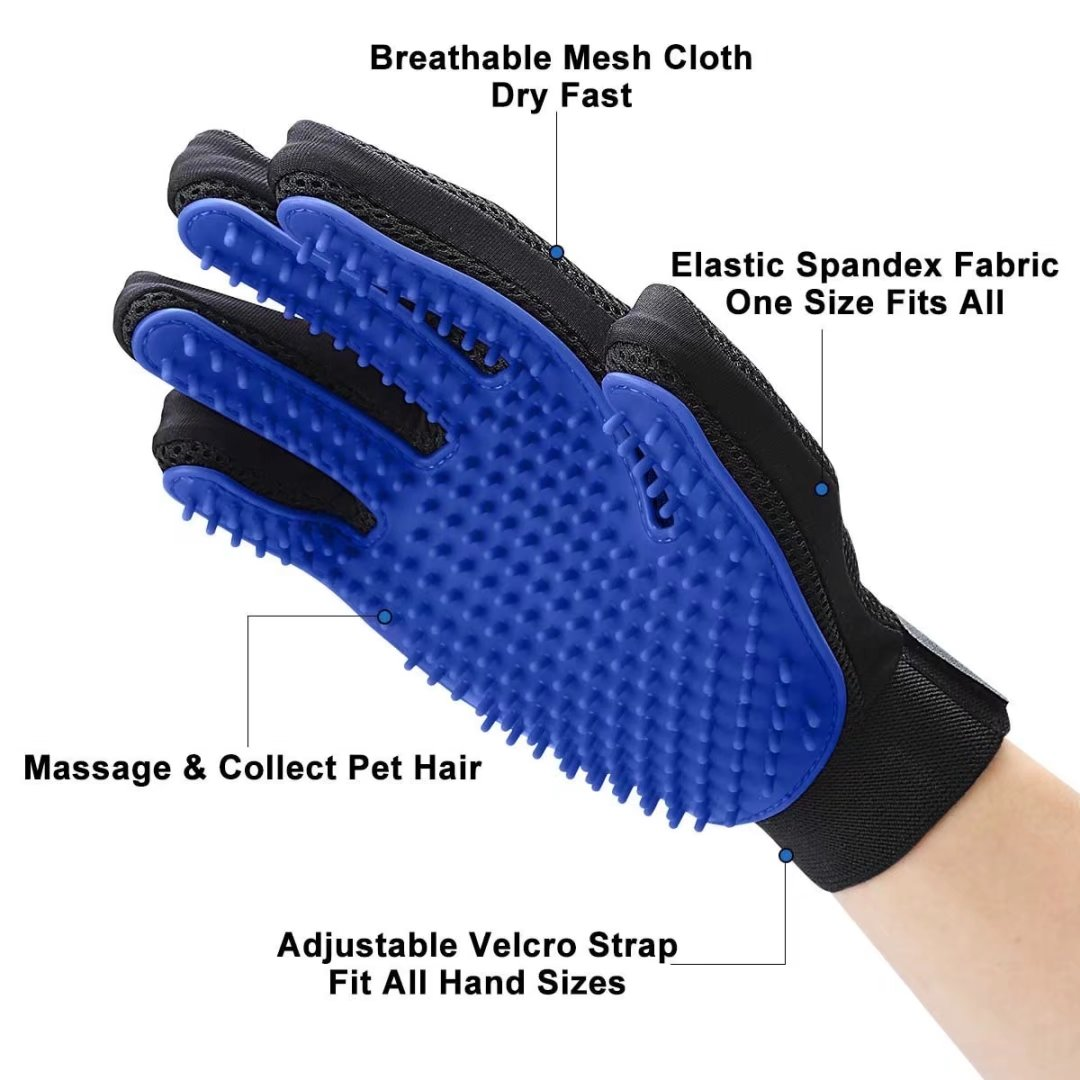 Pet Glove Pet Grooming Glove Bathing Glove Shedding Gloves Brush Massage Tool with Enhanced Five Finger Design - Perfect for Dogs & Cats with Long & Short Fur (One Pair)