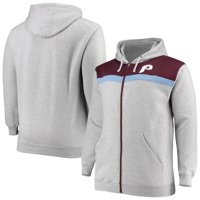 Philadelphia Phillies Majestic Big & Tall Cooperstown Collection Tripod Full-Zip Hoodie - Heathered Gray/Light Blue