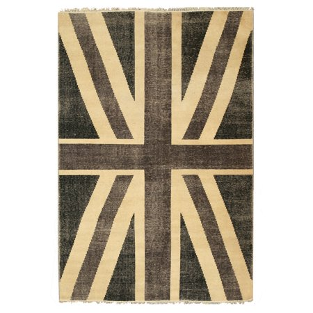 Hand Knotted Wool Black Casual Flag Union Jack British Rug