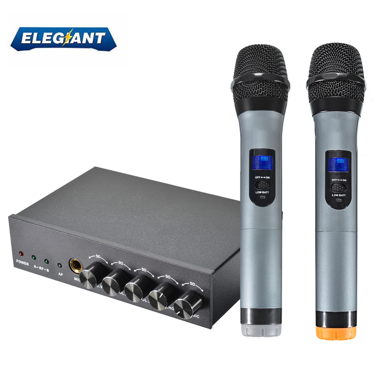 ELEGIANT Professional Dual UHF Bluetooth Handheld Wireless Karaoke Microphone Receiver System Independent Adjustable Volume Control With 2 Cordless Mics For Home KTV Conference