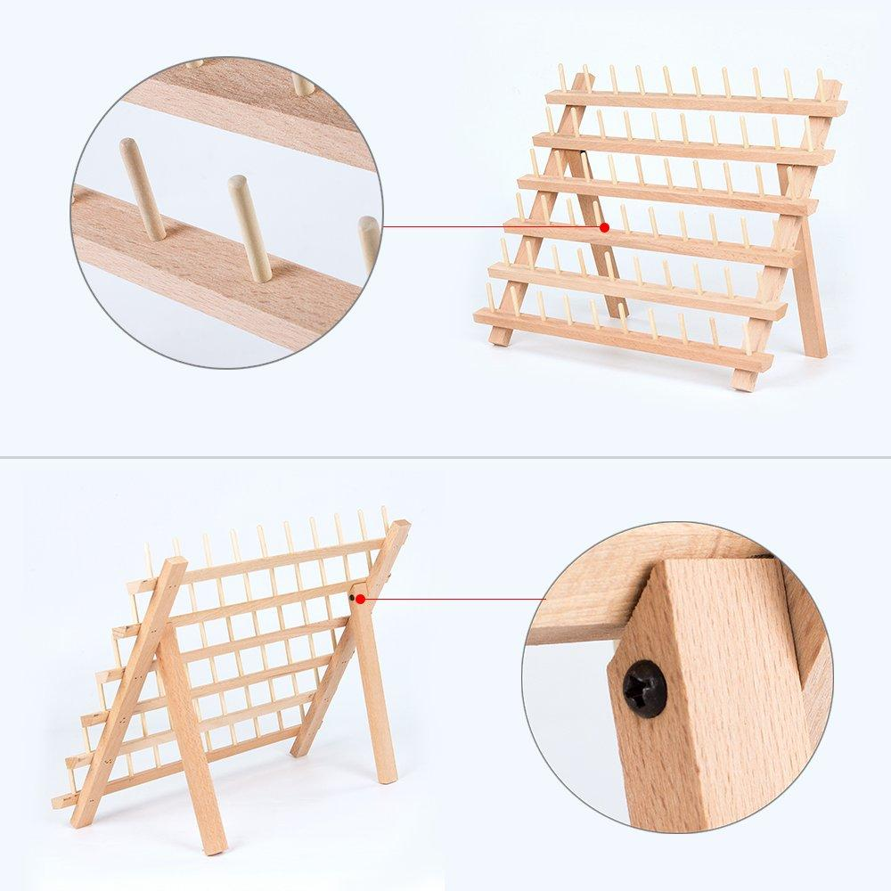 Wooden Thread Holder Sewing Organizer for Sewing HAITRAL 60-Spool Thread Rack Embroidery Quilting