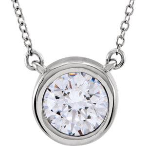 Jewels By Lux Bezel Set Solitiare Necklace
