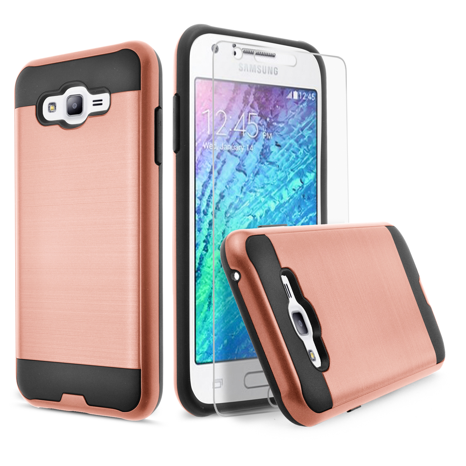 Galaxy On5 Case, 2-Piece Style Hybrid Shockproof Hard Case Cover with [Premium Screen Protector] Hybird Shockproof And Circlemalls Stylus Pen (Rose Gold)