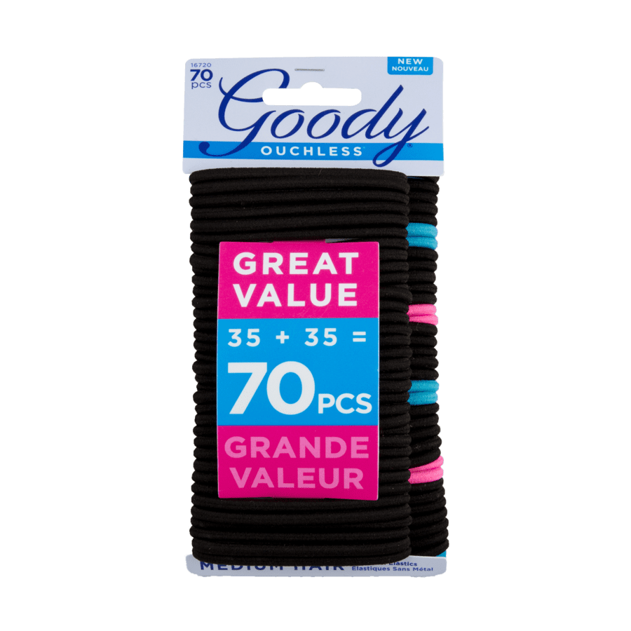 Goody Goody Ouchless Black Hair Elastics No Metal Gentle Hair Ties 70 Ct Walmart Com Walmart Com