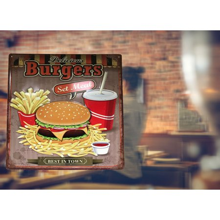 Retro Metal Sign: Delicious Burgers Set Meal; Best in Town Sign. Retro and fun signage for shop, home, office, store, etc.Product Size: 15 x 15 x 0.1 ; Décor ; All metal construct. Very (The Best Burger In Town)