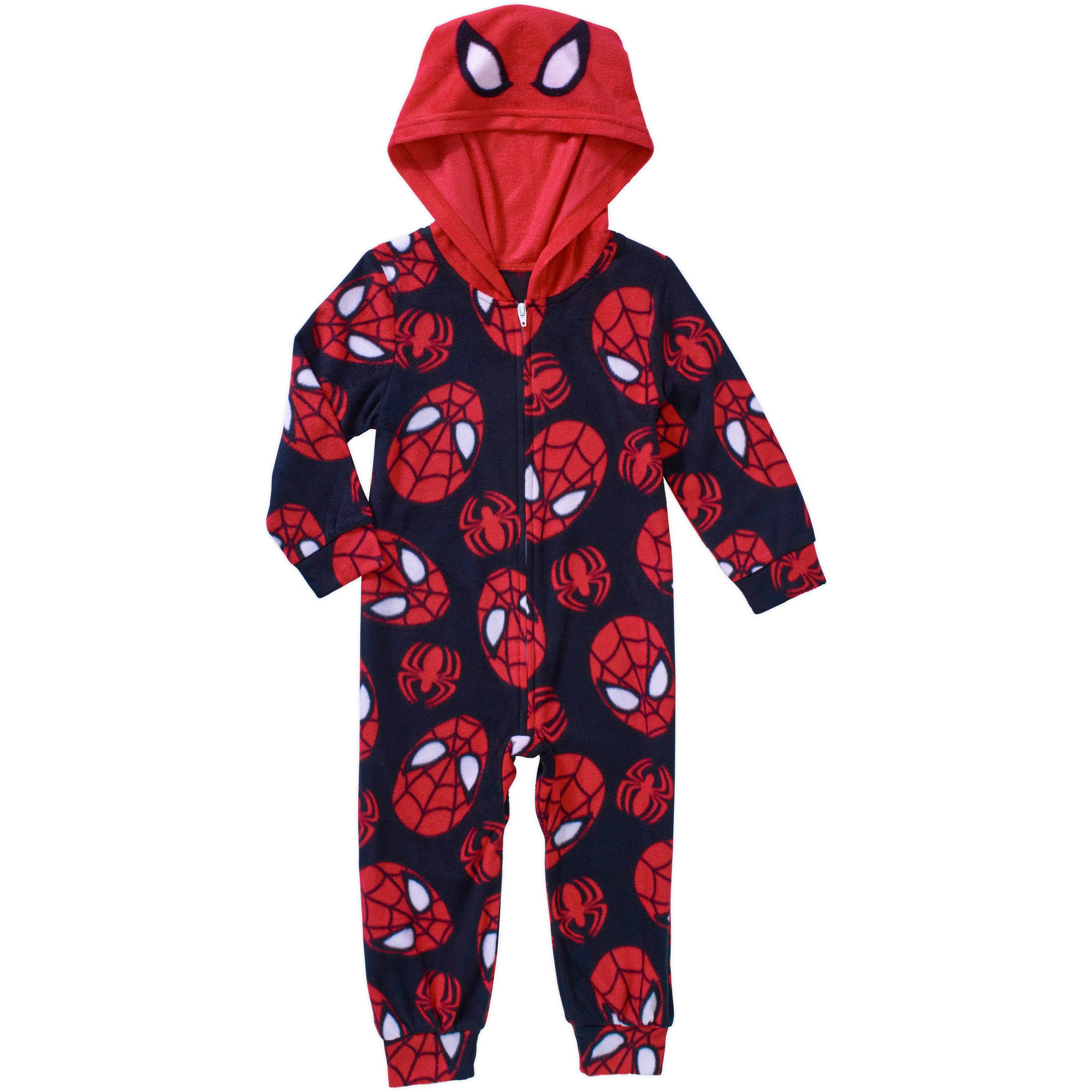 Spider-Man Toddler Boy Hooded Novelty Zip Footed Pajama