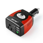 BESTEK 150W Portable Car Power Inverter DC 12V to 110V AC Outlet Converter with 3.1A Dual USB Car Adapter for Laptops, Tablets, Movie Projectors, Consoles & More