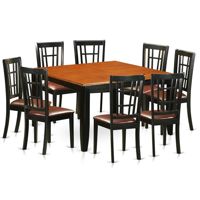 9 Piece Dining Table Set For 8 Dining Room Table With 8: Faux Leather Dining Room Set