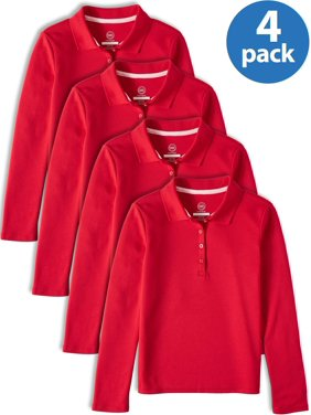 Wonder Nation Girls School Uniform Long Sleeve Interlock Polo, 4-Pack Value Bundle (Little Girls & Big Girls)