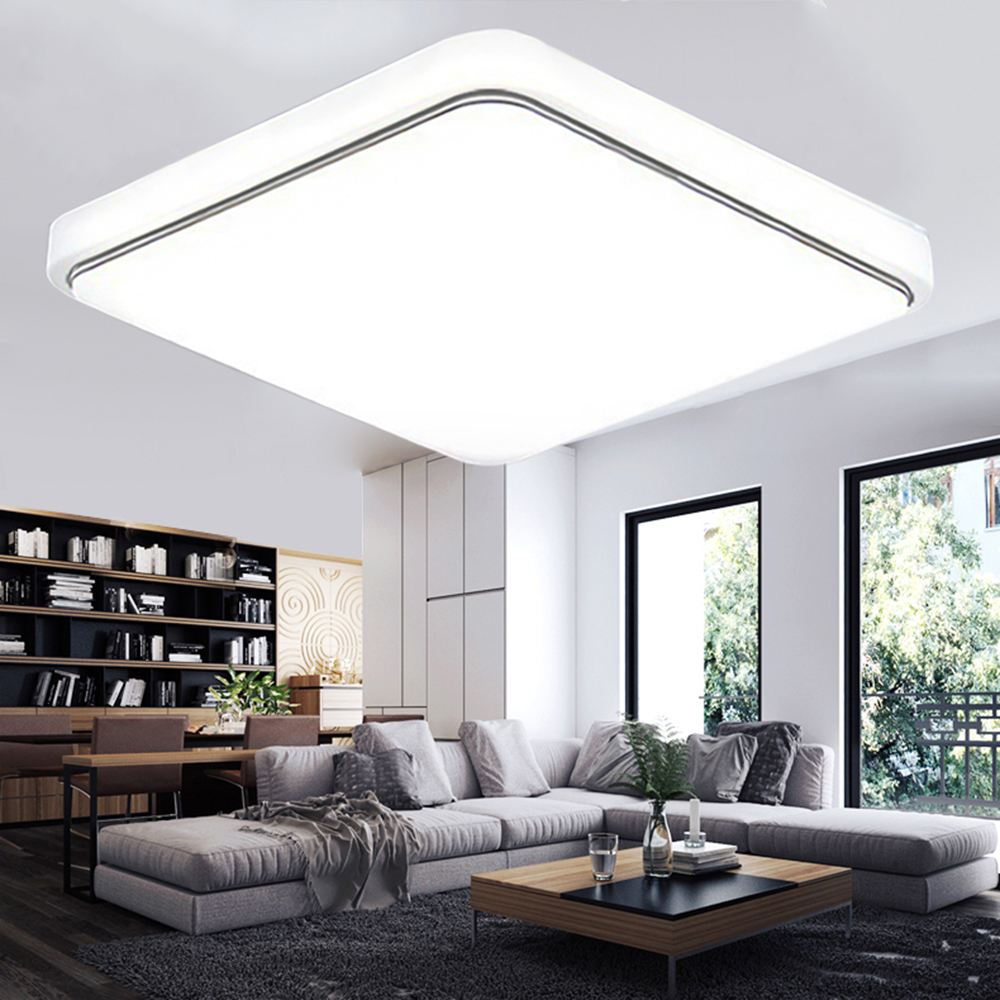 24W 1000LM Square LED Flush Mount Ceiling Down Light Fixture Lamp Modern,Home Kitchen Dining Hall Study Living Room... by