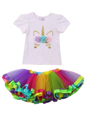 3227a11185 Product Image Toddler Girls 2 Pieces Set Unicorn T-Shirt Top Rainbow Tutu  Tulle Dress Skirt White