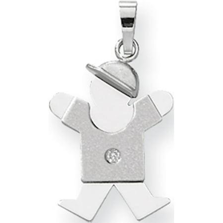 Leslies Fine Jewelry Designer 14k White Gold AA Diamond Kid (15x25mm) Pendant Gift (Children's Birthstone Jewelry)