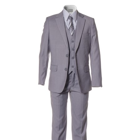 Lined Two Button Suit - Boys Light Grey Slim Fit Suit 2 Button 5 Piece by Fouger