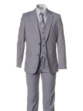 Boys Light Grey Slim Fit Suit 2 Button 5 Piece by Fouger