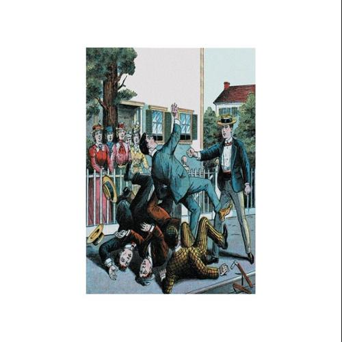 Punch Sends Them Sprawling Print (Unframed Paper Poster Giclee 20x29)