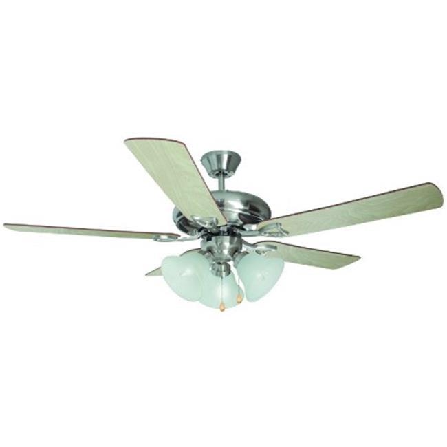 Bristol 52 in. 3-Light 5-Blade Ceiling Fan,Redwood or Light Maple Blades, Satin Nickel Finish - image 1 of 1