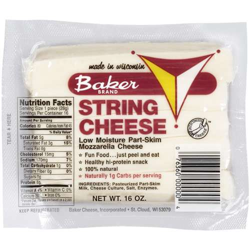 Baker Low Moisture Part Skim Mozzarella String Cheese, 16 oz