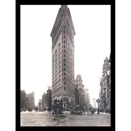 FRAMED Flat Iron Building Turn of the Century Photograph 19.75x15.5 Art Print Poster New York City Horse and Buggy