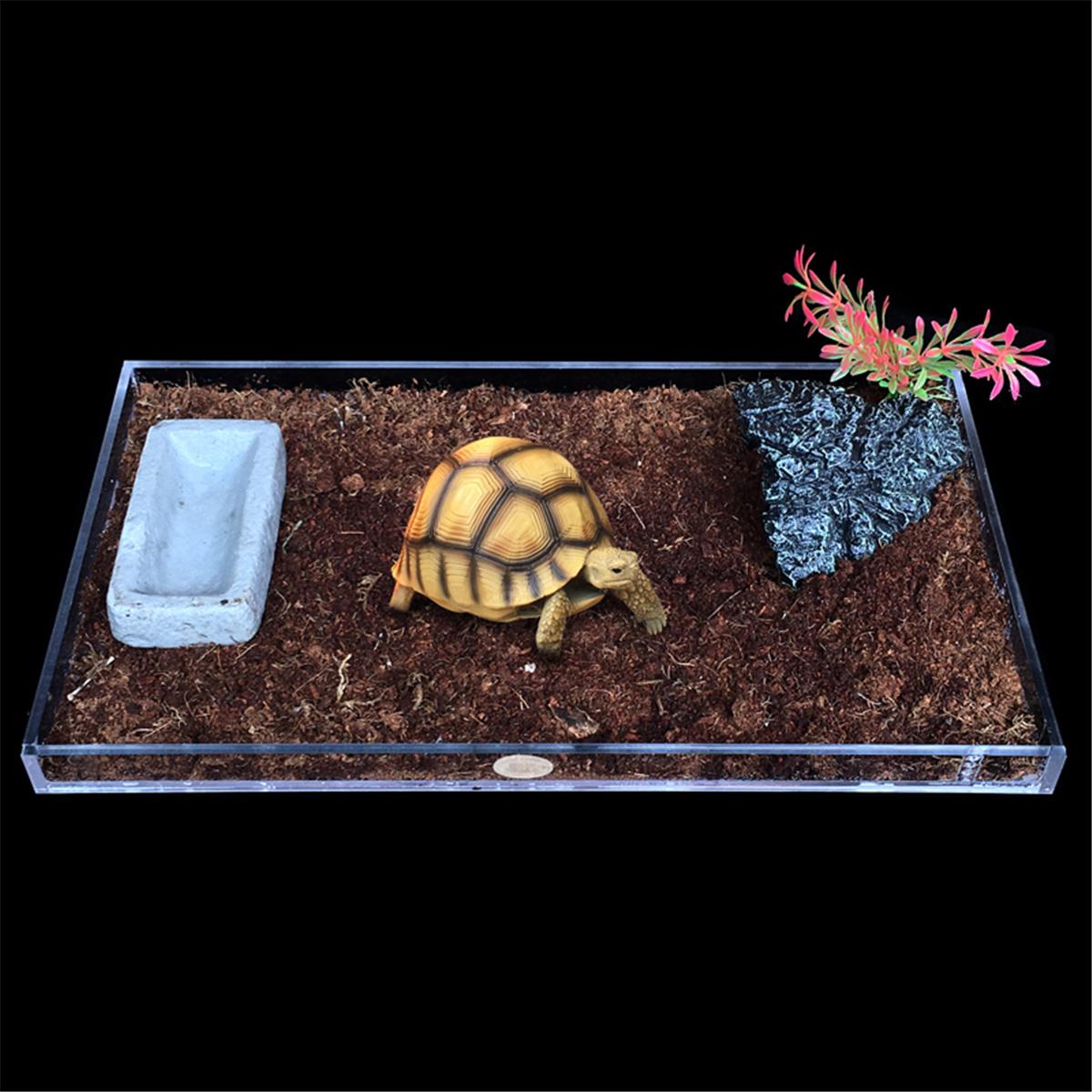 Meigar  Acrylic Pet Reptile Turtle Tank Clear Pan Holder Water Platform Decor S/M/L Size