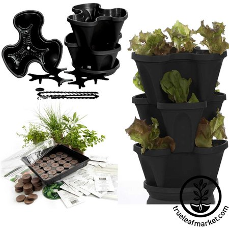 Garden Stacker Planter + Indoor Herbal Tea Herb Garden Kit - Grow Lemon Balm, Catnip, Marigold, More: Seeds, Peat Pellets, Greenhouse Tray, Instructions, Black Color Stackable - Herbal Plaster
