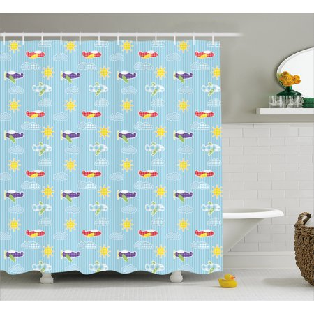 - Airplane Shower Curtain, Patchwork Style Baby Boy Kids Pattern Transportation Travel Icons on Blue Strips, Fabric Bathroom Set with Hooks, 69W X 70L Inches, Multicolor, by Ambesonne