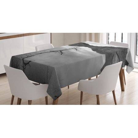 Black and White Decorations Tablecloth, Scenic Tranquil Landscape Lake Nature Monochrome Photo, Rectangular Table Cover for Dining Room Kitchen, 60 X 84 Inches, Black White Grey, by Ambesonne