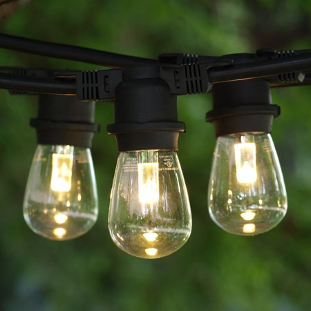 Led String Lights Industrial : Commercial String Lights 100 ft Black - LED S14 Professional WW Bulbs - Walmart.com