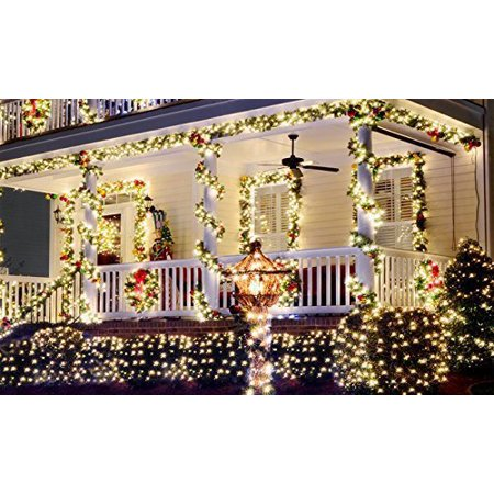 2 Pack Solar Powered LED String Light, Ambiance Lighting, 40ft 12metres 200 LED Solar Fairy String Lights for Outdoor, Gardens, Homes, Christmas Party (Warm White) ()