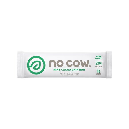 No Cow Protein Bar, Mint Cacao Chip, 20g Plant Based Protein, Low Sugar, Dairy Free, Gluten Free, Vegan, High Fiber, Non-GMO, 12 Count - 2.12 oz Each