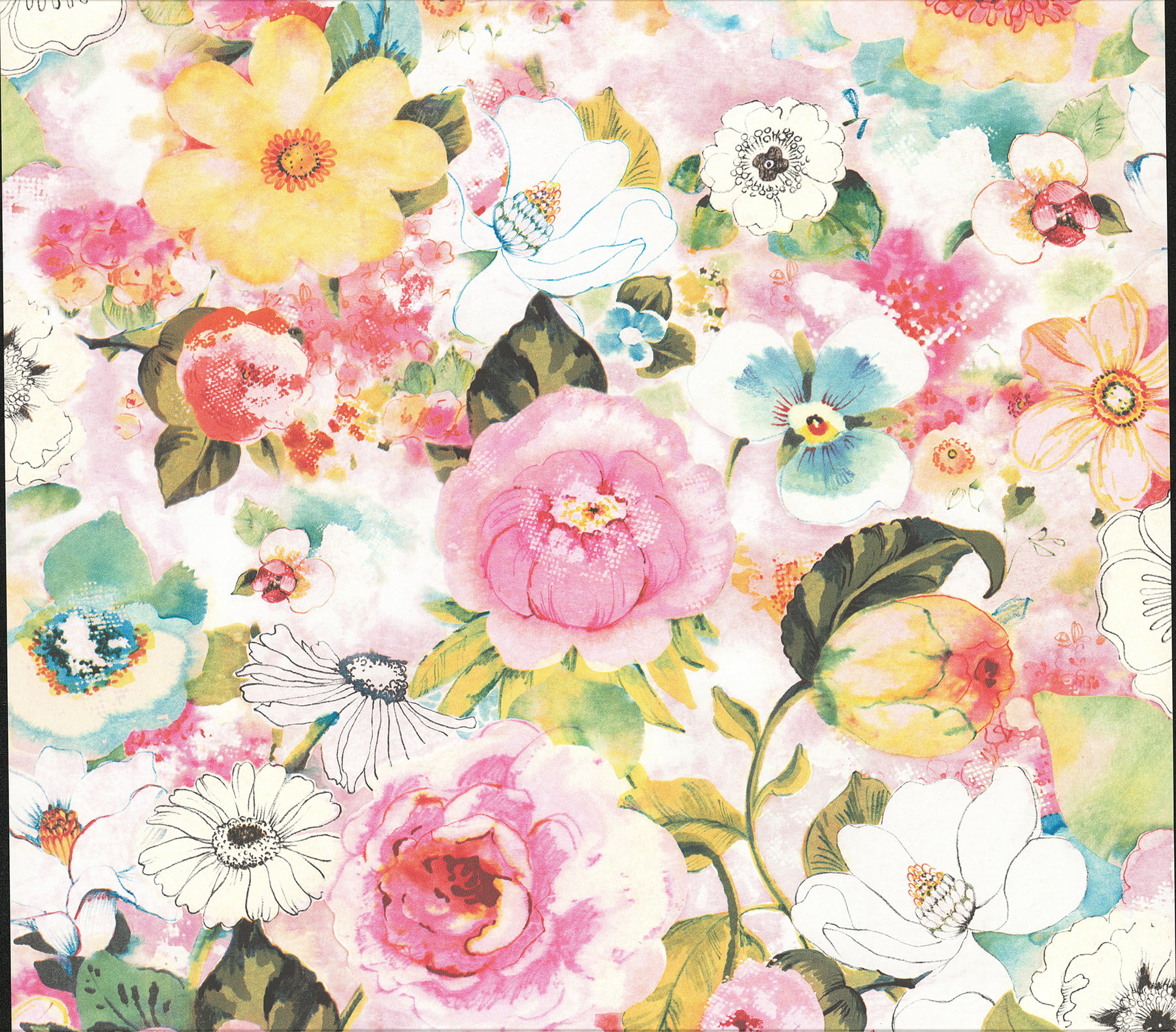 Advantage Baldwin Multicolor Watercolor Floral Wallpaper Walmart