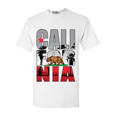 964 Bear - Shop4Ever Men's California Beach Palm Tree Bear Graphic T-shirt