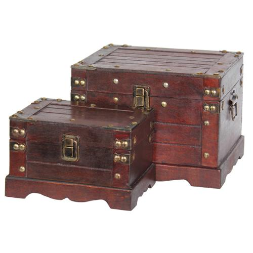 Quickway Imports Old Style Wooden Chests (Set of Two)