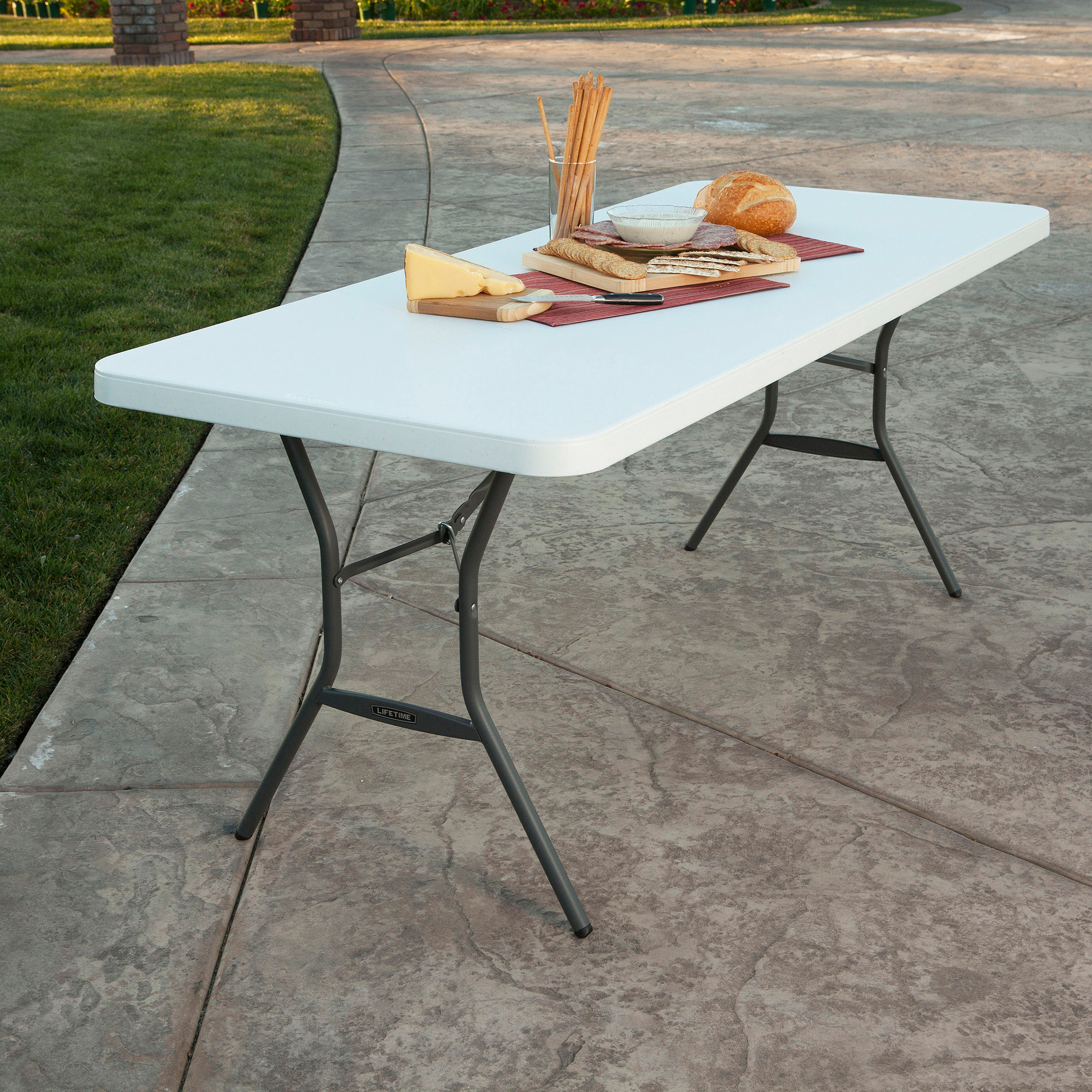 Lifetime 6' Fold-In-Half Table, White Granite