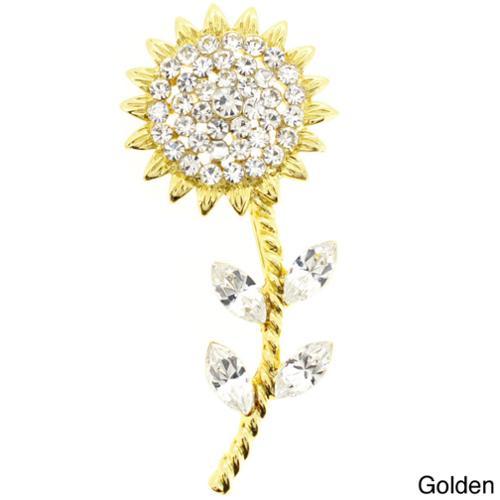 Fantasyard Golden Multi-color Crystal Sunflower Pin Brooch by Overstock