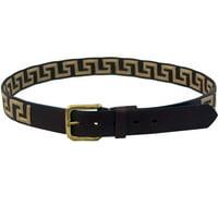 World of Warcraft AGMB28 Unisex Greek Key Design Leather Belt, Brown & Tan - Size 28