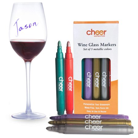 Cheer Collection Pack of 5 Metallic Colors Wine Glass Markers