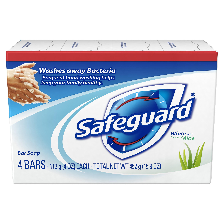 Safeguard Deodorant Bar Soap, White with Aloe, 4 oz, 4 count