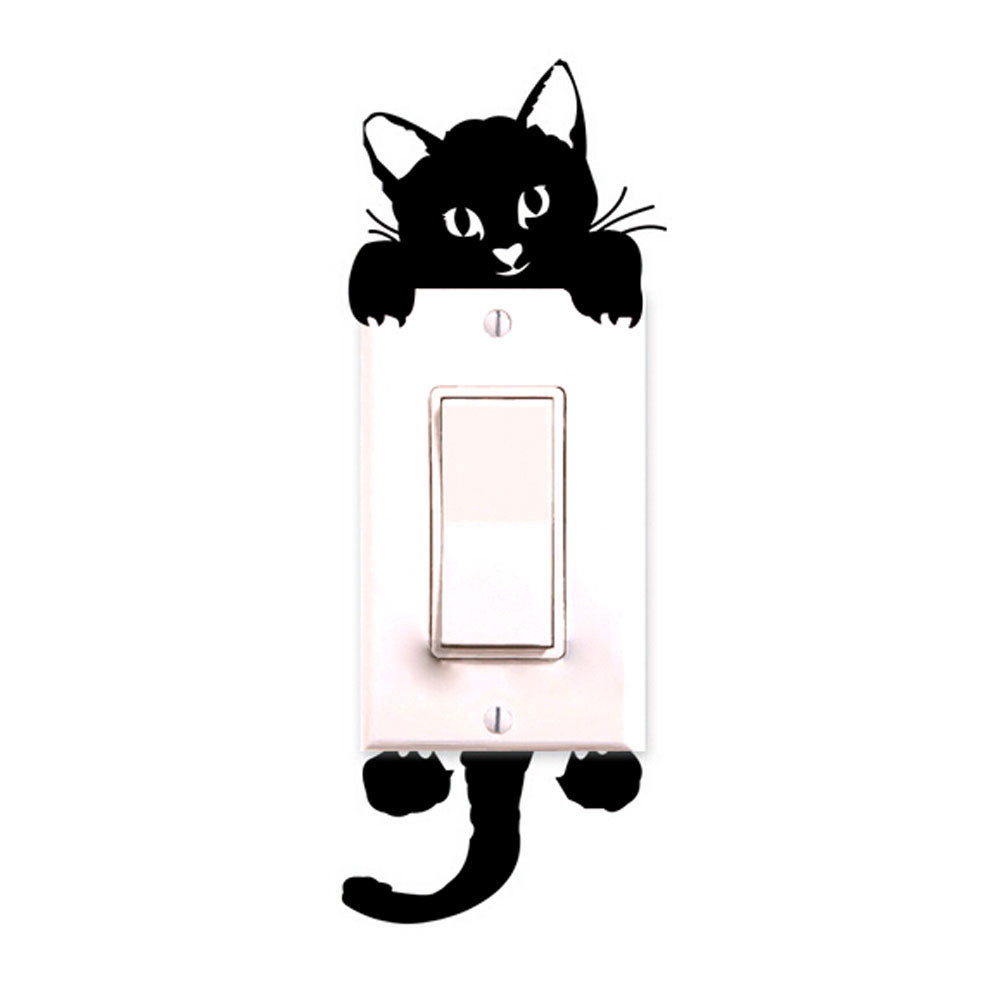 Cat Peering into Fish Bowl small light switch Sticker Car Decal