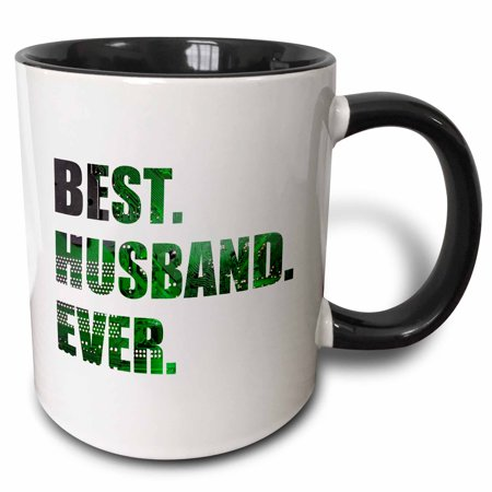 3dRose Best Husband Ever - cut out of green computer chip microchip graphic - Two Tone Black Mug,