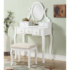 Makeup Vanity Table with Oval Mirror,Wood Dressing Table with 3 Drawers  Bedroom Vanity Set w/Stool for Girls Women Black
