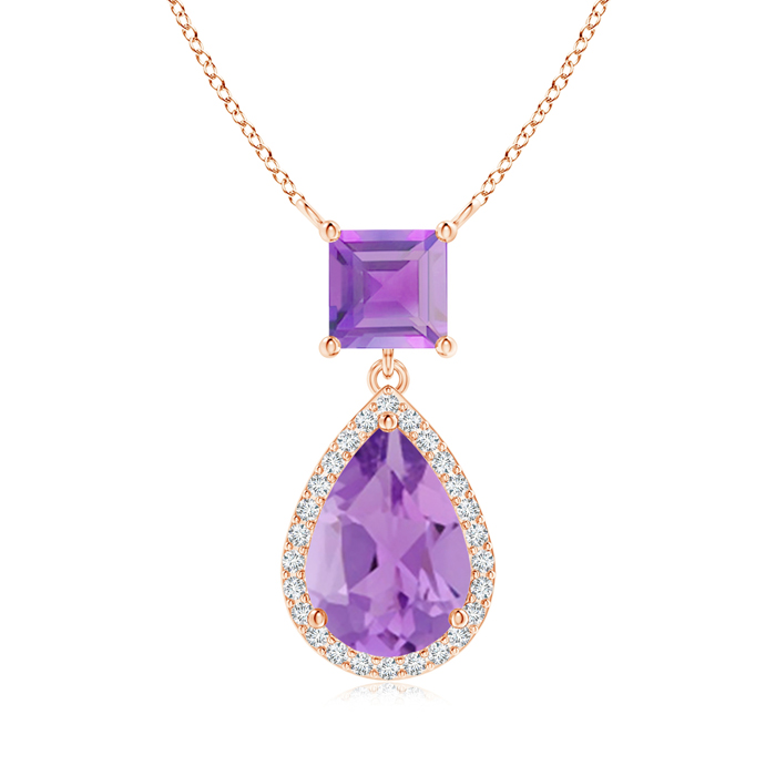 Angara Square Amethyst Necklace with Diamond Halo in 14K Rose Gold E05OZp4p