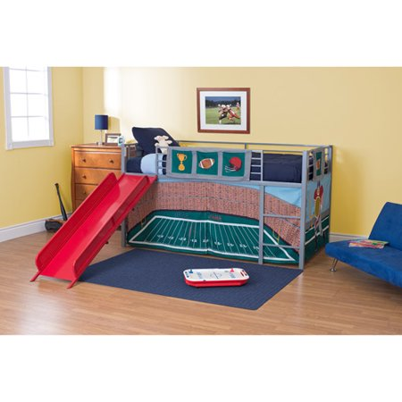 Boys Football Stadium Twin Loft Bed With Slide Red